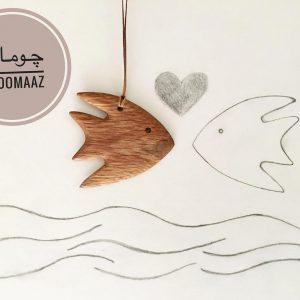 خرید آنلاین پبوک مارک چوبی طرح ماهی